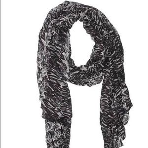 Stella and Dot black, grey, and offwhite scarf.